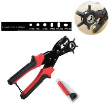 Heavy Duty Strap Leather Hole Punch Hand Plier Belt Puncher Revolving DIY Tool