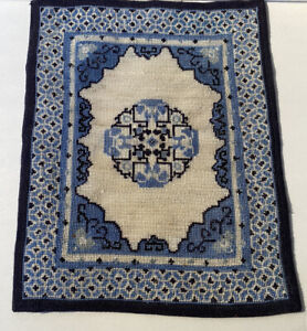 Dollhouse Miniature Needlepoint Petit Point Wool Chinese Antique Oriental Rug