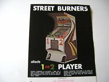 1975 Allied Leisure Street Burners Arcade Game Original sales flyer brochure