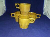 4-Vintage HULL Brown Pottery Coffee Tea Mug STACKABLE Canada Maple Leaf EUC