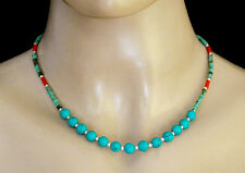 Turquoise coral Regional Ethnic Sterling silver Necklace stone Jewelry NU19