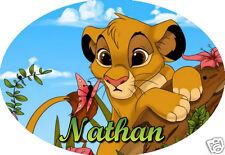 PLAQUE DE PORTE OVALE RIGIDE  réf 25 le roi lion personnalisée prénom chambre
