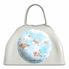 Pigs Could Fly Flying Clouds Sky Pattern White Metal Cowbell Cow Bell Instrument