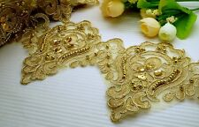 "2 Yards 5"" Beautiful Metallic Gold Embroidery Sequin Beaded Venise Lace Trim"