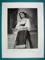LOVELY MAIDEN Italian Peasant Girl - Antique Photogravure Print
