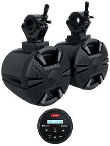"(2) Alpine SPV-65-SXS 6.5"" Tower Rollbar Rollcage Speakers + MB Quart Receiver"