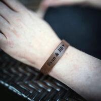 Personalised Bracelet Genuine Leather Engraved Handmade Custom Gift