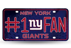 New York Giants #1 Fan Stamped Metal License Plate Auto Tag