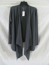 Eileen Fisher Angle Front Cardigan -Ribbed Wool -Bark/Gray- Size PL- NWT $298