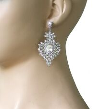 """2.5"""" Long Timeless Victorian Clear Crystals & Acrylic earrings, Pageant, Bridal"""