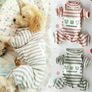 Pet Dog Thick Warm Stripe Cotton Cute Clothes Coat Puppy Outfit Jumper Jacket UK