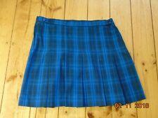BLUE TARTAN SCOTTISH SKIRT CHECK KILT SCHOOL FANCY DRESS UP WAIST 20 28 32 36
