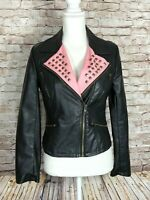 Forever 21 Women's M Faux Leather Black Crop Motorcycle Jacket Studs Pink Accent