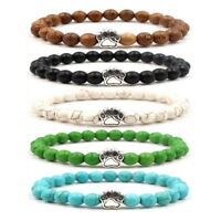 Fashion Stone Beaded Bracelets Crystal Dog Paw  Footprint Charm Stretch bangle