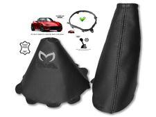Gear & Handbrake Gaiter For Mazda MX5 Roadster ND 14-18 Black Logo + Frame