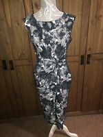 Phase Eight Stunning Flattering Black Grey White Floral Dress Midi Length 14