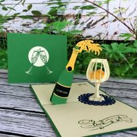 Handmade Champagne Bottle and Glass 3D Pop Up Card Congratulations Housewarming