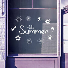 Hello Summer Time Greetings Vinyls Shop Window Display Wall Decals Stickers B49