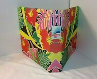 1987 MEAD Binder Rooster Tail Surf Wave Tropical Theme Fabric Covers Vtg 3 Ring