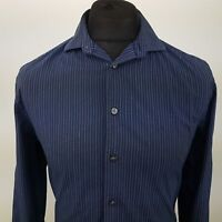 Calvin Klein Mens Shirt 38 15 (XS) Long Sleeve Blue SLIM FIT Striped EASY IRON