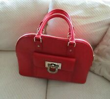 New DKNY Stunning Red French Grain Leather Round Satchel-$345