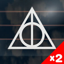 2 x DEATHLY HALLOWS SIGN Stickers 115mm harry potter car helmet window decal