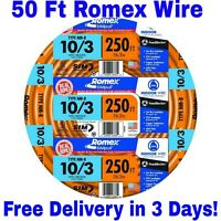 10/3 W/GROUND ROMEX INDOOR ELECTRICAL WIRE 50' FEET (ALL LENGTHS AVAILABLE)