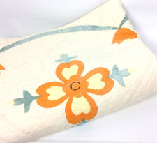 Flower Tulip Quilt Hand Sewn Twin Size Patchwork Orange Green Country Decor