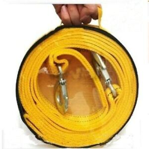 Car Towing Pull Rope Strap 4M Heavy Duty 5 Ton Tow Cable Hooks Van Road Recovery