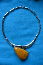 Edles Designer Collier Halskette 925 Silber mit großem Butterscotch Bernstein