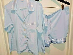 VICTORIA SECRET L Sleep Pajama Set Blue Satin Short Sleeve boxer vintage gray