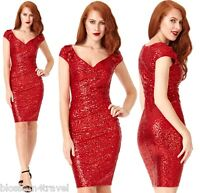 Goddiva Red Lined Sequin Cocktail Party Evening Dress Prom Bridesmaid RRP £65
