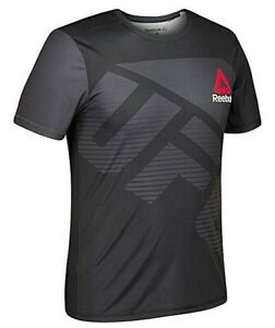 REEBOK UFC CUSTOM X Combat Official Fighter Kit Black White Jersey Shirt Mens