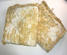 Pottery Barn 2 MATINE Toile Marigold Yellow Quilted Ruffle Pillow Shams Pair