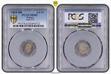 M5438 Très Rare 1/4 Franc Charles X 1828 BB Strasbourg PCGS MS62 Argent Silver