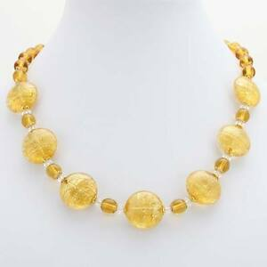 GlassOfVenice Murano Glass Necklace Ca D'Oro - Yellow Gold