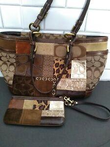 Coach Limited Edition Patchwork Shoulder Bag Purse Tote Wallet F0873-F12843