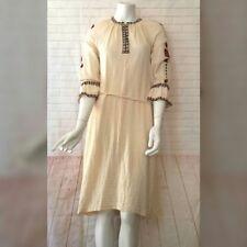 Narodna Radinost Womens 8 Handmade Cream Serbia Peasant Dress Embroidered Muslin