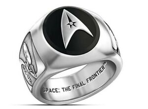 Star Trek Command Logo With Ships Silvertone Band Ring