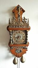 Warmink Wall Clock Dutch ZAANSE Oak Wood Chain Driven Vintage 70s Brass Weights