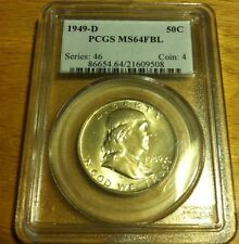 1949 D Franklin Half PCGS MS 64 FBL GEM BU Nearly Blast White