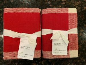 NEW Pottery Barn Set / 2 Bryce Check KING Pillow Shams Red / Ivory