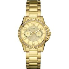 NEW GUESS LADIES U0705L2 ROUND DIAL CRYSTALS STAINLESS GOLD IP BAND WATCH