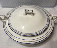 Homer Laughlin Covered Vegetable Bowl Blue Stripe Pattern