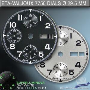 DIAL FIT MOVEMENT ETA VALJOUX 7750, Ø 29.5 mm,  BLACK SLC1, SILVER