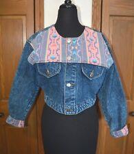 Vtg 1980's Women's Nuovo Denim Jacket Coat Southwestern Western Med Mint Punk