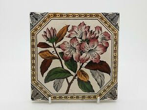 Rare Victorian Floral Aesthetic Movement Print & Tint Tile #16