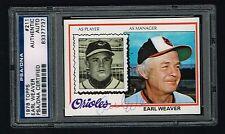 Earl Weaver 1978 Topps Baseball Carte #211 Autographe Signé Auto PSA Slabbed
