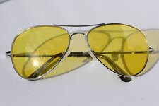 Silver METAL FRAME Yellow Lens Aviator SUNGLASSES Classic shades spring hinges