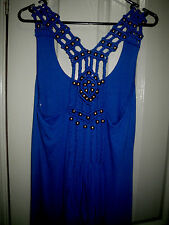 Paper Heart Blue Maxi Dress Viscose Racer Back Braid Brass Bead Strap  8 10